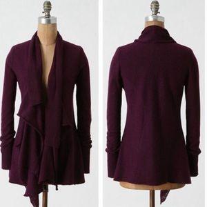 Anthro   Sparrow   Purple Wool Waterfall Cardigan